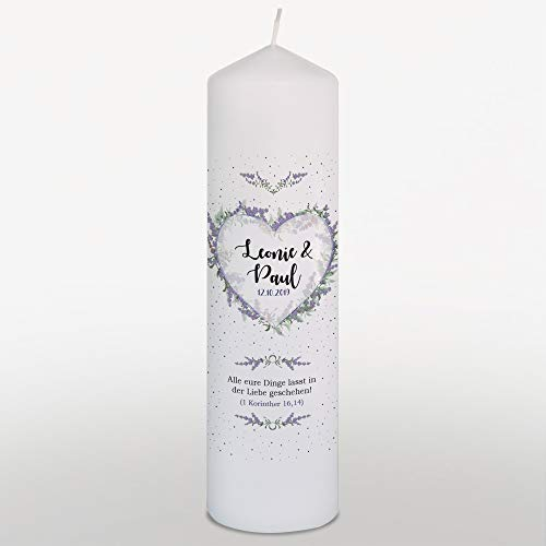 WEDDNG Vela de Boda con Nombre y Fecha, corazón de Flores, Lila, Vela de Boda, Color Blanco, Groß+Trauspruch