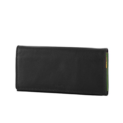 Rada Langbörse Portemonnaie Damen Leder B/31 mit 12 Kreditkartenfächern (schwarz/bunt)