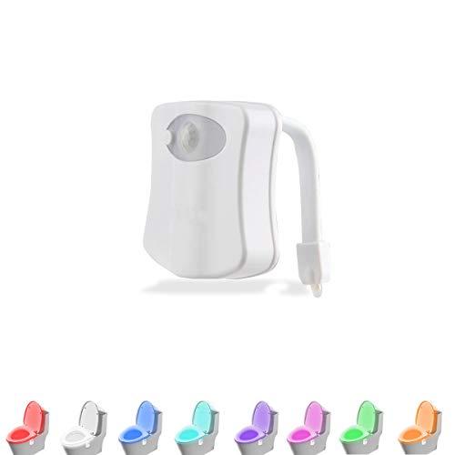 LAVAED Motion Sensor Toilet Night Light Home Toilet Light Bathroom Body Motion Sensor Toilet Bowl Seat Light Lamp 8-Color Changes (1 Pack)