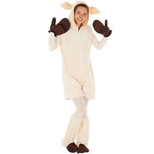 dressforfun Kostüm Schaf für Sie und Ihn | Kuscheliger Flauschstoff | Super auch als Partner- oder Gruppenverkleidung | inkl. Handschuhe, Beinstulpen und Ganzkörperstrumpfhose (L | Nr. 300858)