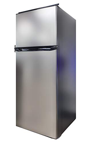 Everchill RV Refrigerator, 12V Fridge, 10.7 CU FT Capacity, 23.5 Inch Width, Frost Free Double Door, Available in Left or Right Hand Swing, Stainless Steel Outlook with Black Body