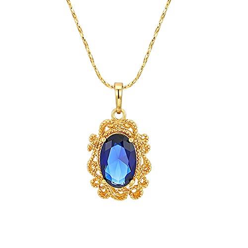 ZIYUYANG Collar colgante, plata esterlina damas elegante azul collar con gemas para damas collar de oro fiesta de bodas verde