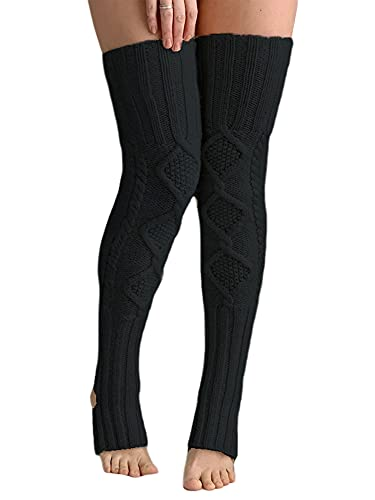 Qtinghua Women's Extra Long Cotton Thigh High Socks Over the Knee High Boot Stockings Cotton Leg Warmers (#2-Black, One Size)