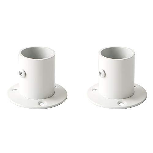 Sayayo Flanschhalter für Schrankstangen, Flansch-Set mit Stangen-Halterung, 26 mm Durchmesser, 2 Stück, Edelstahl, Birken-Weiß, EFL3025W-2P