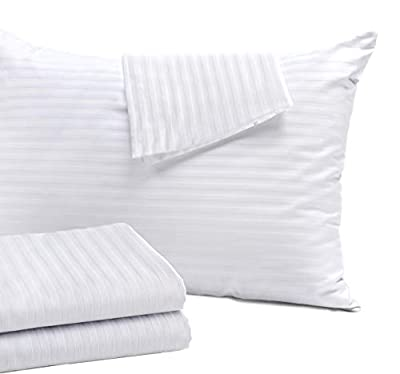 4 Pack Pillow Protectors Standard 20x26 Inches Cotton Sateen Tight Weave High Thread Count 400 Style Zippered White Hotel Quality Non Noisy from Niagara Sleep Solution