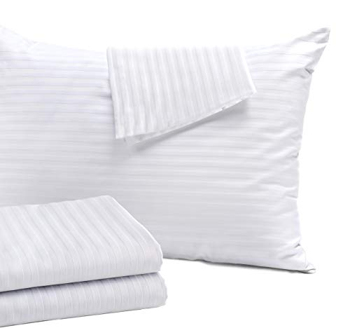 Niagara Sleep Solution 4 Pack Pillow Protectors Standard 20x26 Inches Hypoallergenic Cotton Sateen Tight Weave 3-4 Micron Pore Size High Thread Count 400 Style Zippered White Hotel Quality Non Noisy
