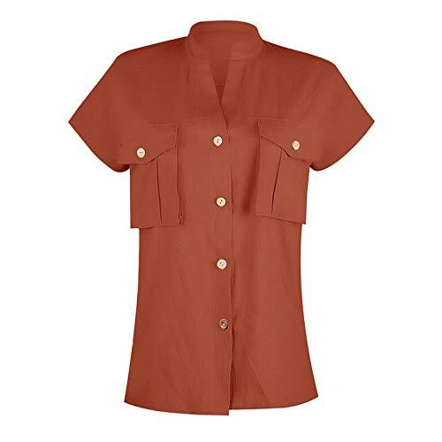 Jubaton Kurzärmelige Oberteile für Damen, einfarbige Stehkragenknöpfe,...