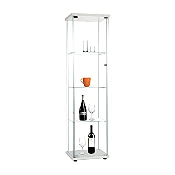 Beauty4U Curio Cabinets with Glass Doors 4 Shelves Glass Display Cabinet for Living Room Floor Standing Glass Bookshelf 64 x 17 x 14.5  White