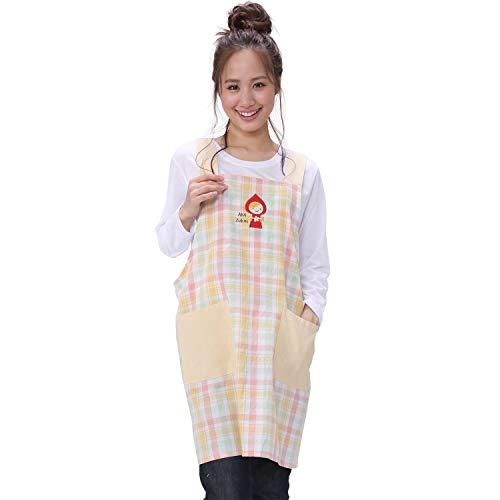 NISHIKI[ニシキ] エプロン 大きいサイズ LLサイズ【選べる柄】《保育士や幼稚園の先生に/アップリケの可愛いデザイン》動きやすいショート丈 ポケット付き キャラクター かわいい アニマル 動物 レディース 大人用 H型エプロン apron 9166