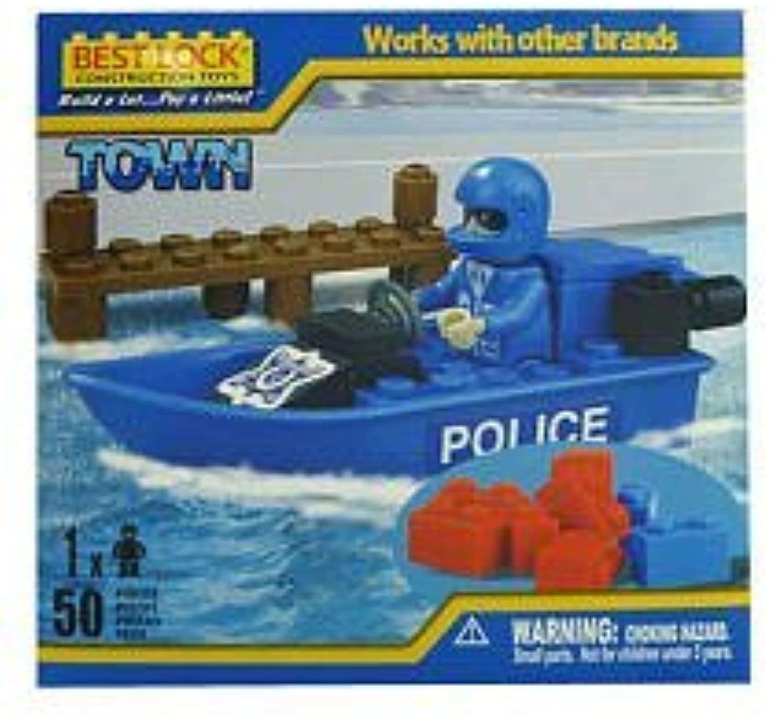 Best-Lock Construction Policeman and Boat 50 Pieces by Best-Lock