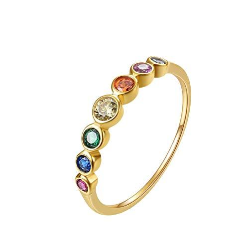 E Rainbow Anniversary Eternity Ring für Frauen, Trauringe, 925er Sterling Silber, 14 Karat vergoldet, AAA-Zirkonia (Runden, 54 (17.2))