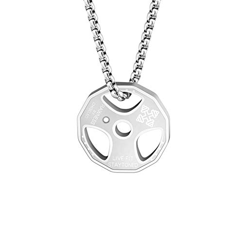 QEPOL Hantel Anhänger Halskette, Titan Edelstahl Fitness Gym Halskette Gewicht Platte Langhantel Hantel Halsketten Männer Frauen Kette Anhänger (Silber)