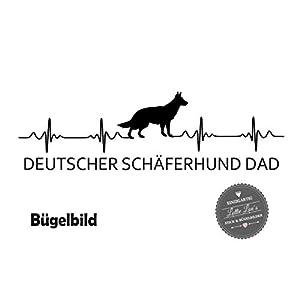 Bügelbild Hund DEUTSCHER SCHÄFERHUND DAD Herzschlag in Flex, Glitzer, Flock, Effekt in Wunschgröße