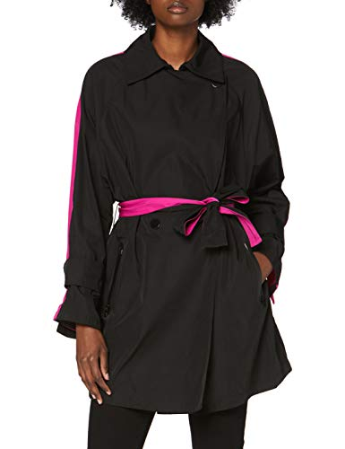 Armani Exchange Damen Double Colors Trench Coat Mantel, Schwarz (Black/Fuchsia 5220), Medium (Herstellergröße: M)