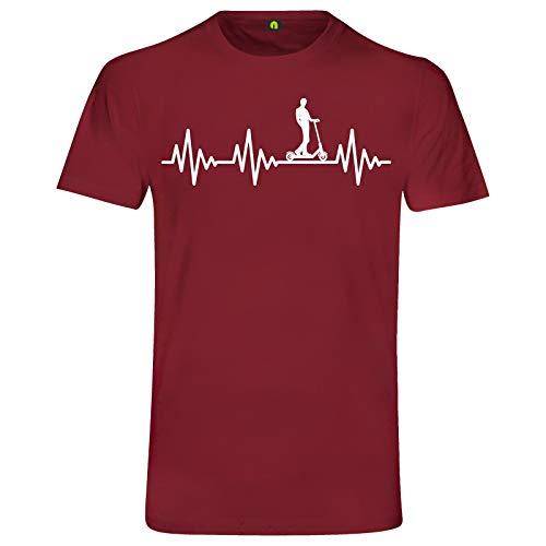 Herzschlag E-Scooter T-Shirt | EKG | Elektroroller | Tretroller | Elektro Stadt Bordeaux Rot L