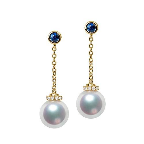 Daesar Pendientes de Mujer Oro Azul Pendientes de Oro Amarillo 18K Perla Diamante 0.16ct