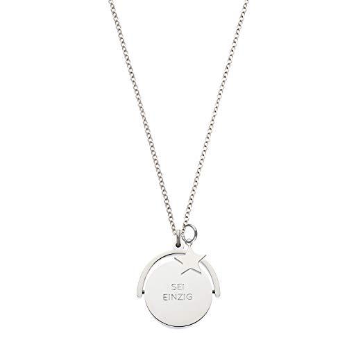 Nickelfreie Spruchkette Love Duet in Sterling-Silber Legierung 80 cm mit Charm Stern. Spruch auf beiden Seiten: Sei einzig, Nicht artig, in Geschenkebox