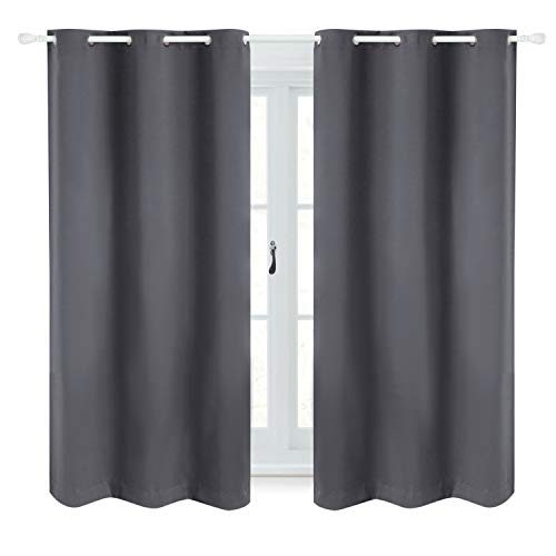 Bedsure Blackout Curtains 63 inch Length 2 Panel Sets -Grommet Curtains for Living Room-Thermal Insulated Curtains for Bedroom(42×63,Grey)