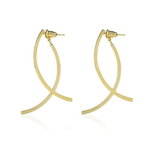 forocean Pendientes Regalos para mujer Pendientes dorados de diseño simple Pendientes de botón de aguja de plata 925 de metal