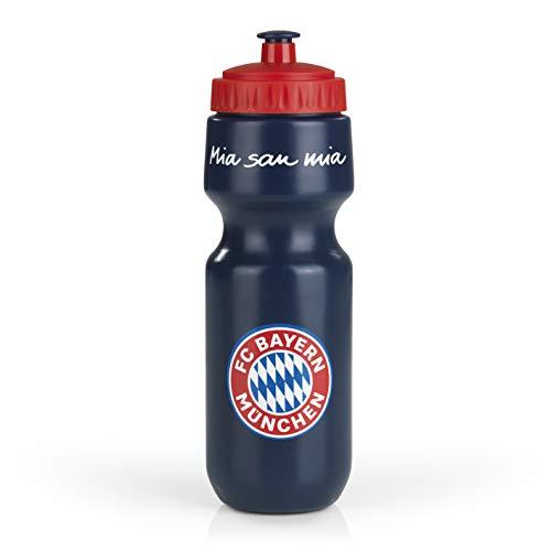 FC Bayern München Trinkflasche 0.65 Liter   Mia San Mia Fanartikel   FCB Sport-Flasche Fussball (Blau/Rot, 650 ml)