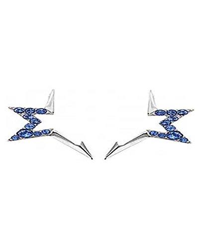 THIERRY MUGLER Pendientes de acero inoxidable con piedras azules