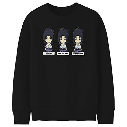 Pull Enfant Noir Parodie Naruto - Sasuke Uchiwa - l'homme Le Plus expressif du Monde : (Sweatshirt de qualité Premium de Taille 13-14 Ans - imprimé en France)