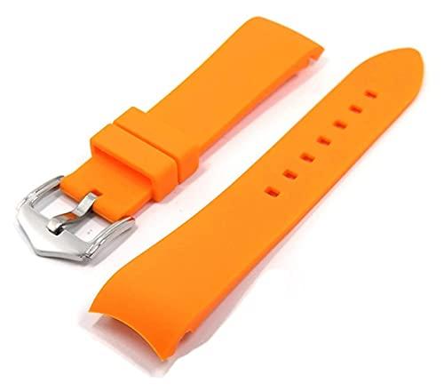 Beapet Banda de Reloj de Silicona 20 mm 22 mm 24 mm Reloj de Silicona Correa de Banda de Goma Suave Arco de Codo Mujeres Reloj Reloj Banda Pulsera Accesorios (Color : 20mm, Size : Orange)
