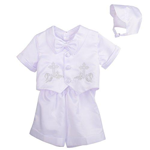 Lito Angels - 4 piezas de manga corta y pantalones para bautizo con capó - blanco - 24 meses