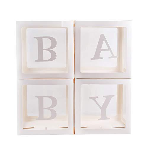 PQZATX 4Pz Scatole Trasparenti Quadrate da 12 Pollici Scatole da Imballaggio per Palloncini nel Cartone per Decorazioni per Feste Compleanno per Battesimo di Compleanno per Bambini-Bianco