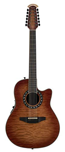 Ovation ExoticWoods Collection 12 String Acoustic-Electric Guitar, Right, Quilted Maple Honey Burst (C2059AXP2-QHB)