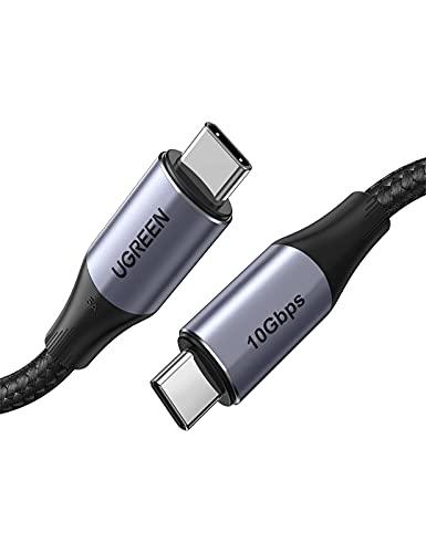 Cabo USB-C Ugreen para USB-C, 100 W, entrega de energia USB C 3.1 geração 2 10 Gbps 4K vídeo compatível com MacBook Pro/Air, Huawei Matebook, iPad Pro 2020, Chromebook, Samsung Galaxy S20/S10, Pixel, Switch, 3 pés