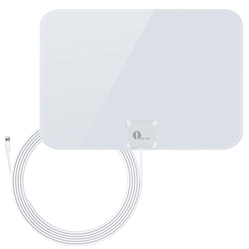 1byone Indoor Amplified HDTV Antenna [Newest] with Long Range Support 4K 1080P & All Older TV's Indoor Powerful HDTV Amplifier Signal Booster, Paper-Thin Design with 16.5ft Coax Cable