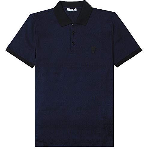 Versace Collection Logo sparso Stampa Camicia Polo Navy Extra Large