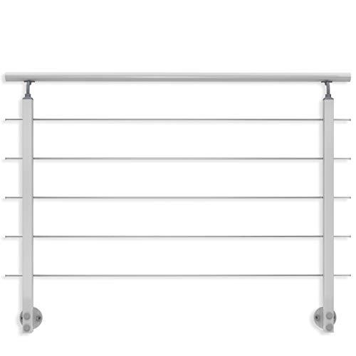 Geländer-Set aus Aluminium, matt. 1500 mm (kürz- und verlängerbar). Seitliche Montage. Als Treppengeländer, Brüstungsgeländer, Balkongeländer, Terrassengeländer. Für Innen & Außen