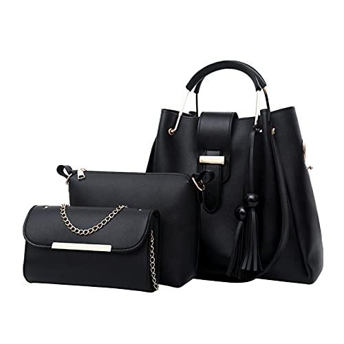 SIQDAK Juego de 3 bolsos para mujer Crossbody cuero monederos con cartera embrague asa superior conjunto de monedero-negro