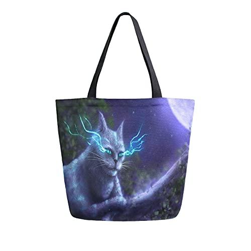 LUCKYEAH Animal Cat Moon Night Sky - Bolsa de lona para mujer, bolsa de hombro grande, reutilizable, bolsa de compras