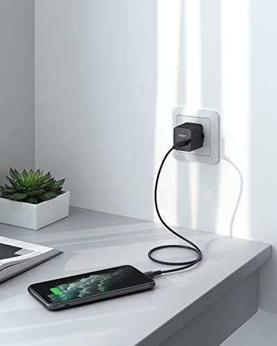 AUKEY iPhone Ladeset für iPhone 12/11, 18W USB C Ladegerät Power Delivery +1.2m Kabel iPhone Typ-c mit MFi-zertifiziertem USB C zu Lightning für Typ-C Ladegeräte für iPhone/iPad/Air Pods