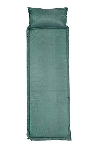 Mountain Warehouse Matelas autogonflant avec Oreiller - Matelas pneumatique Compact avec vanne de gonflage, Sac de Rangement, kit de réparation - pour Le Camping Vert Taille Unique