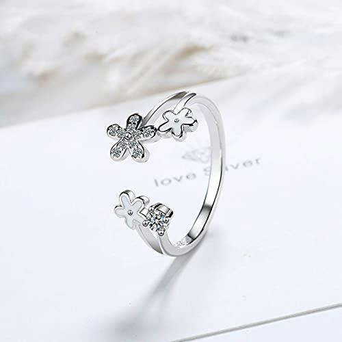 GoodLuck 925 Mujer de Plata de Moda joyería Simple Cristal circón Flor Anillo Abierto tamaño Ajustable Anillo Nuevo