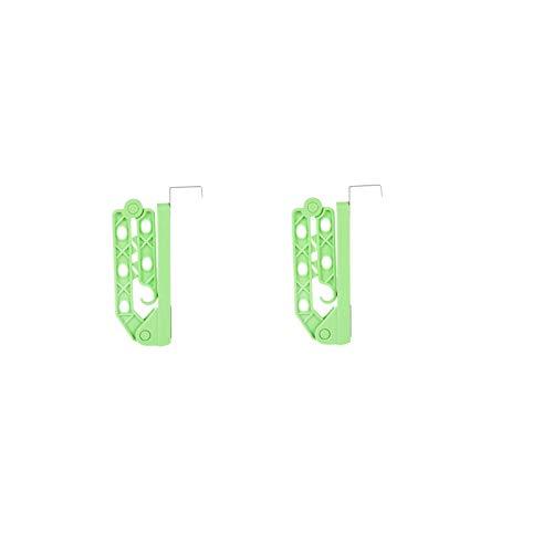 tendedero ropa Estante De Secado Plegable 2 Unids De Secado Plegable Pared De La Pared De La Puerta Del Valet De La Puerta Suspensión Creativa De La Puerta Doble Giratoria Fácil De ( Color : Green )