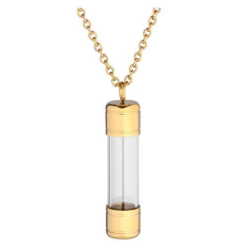 Jovivi Edelstahl Asche Schmuck Memorial Urne Flasche Anhänger zum Öffnen Kette Kapsel Pendant Halskette für Gedenk in Gold