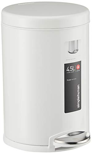 simplehuman Round Step Trash can, White Steel