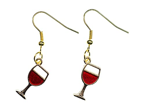 Vino pendientes pendientes de cristal de vino Miniblings vino tinto copas de vino de metal