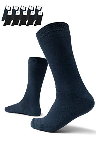 Burnell & Son 10 Paar Business Socken für Herren atmungsaktiv ohne drückende Naht in Schwarz/Marineblau, Größe 43-46