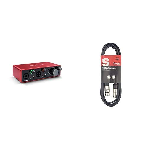 Focusrite Scarlett 2i2 3rd Gen USB Audio Interface & Stagg 3m High Quality XLR to XLR Plug...
