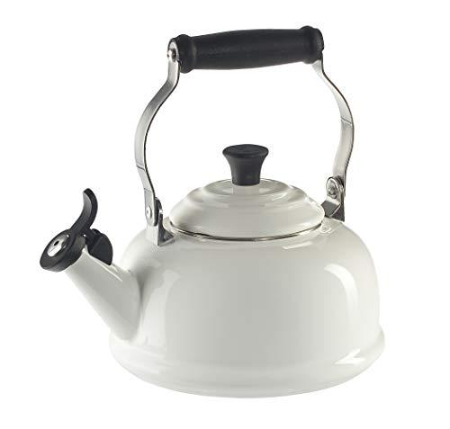 Le Creuset Tetera de acero esmaltado, con silbido, 1.7 litros, color blanco