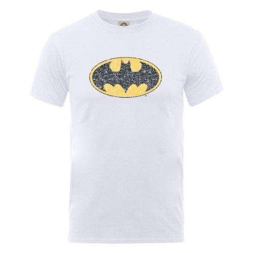 DC Comic DC0001056 Official Batman Gloss Logo T-Shirt, Blanc, XL Homme