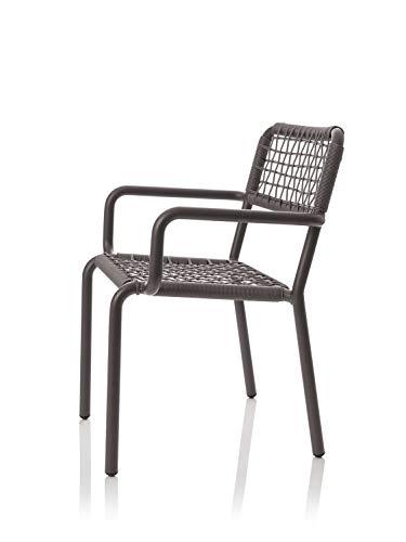 CAIRO Armlehnstuhl Dadao Designer Gartenstuhl - Für Balkon und Garten, Outdoor Stühle modern, Stuhl mit Armlehne, Metall Beine, Armlehnen grau, BxHxT 57x80x63,5 cm