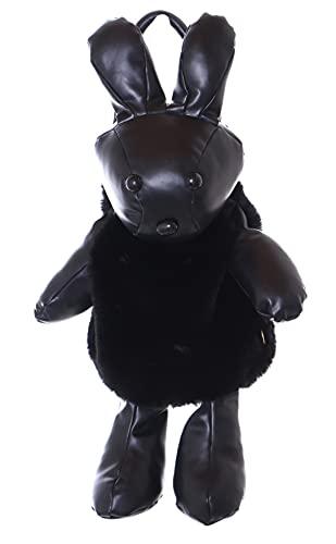 LB-7058 Schwarz Hase Bunny Faux-Fur Plüsch Kunstleder Damen Rucksack Trage 2in1 Tasche Pastel Goth