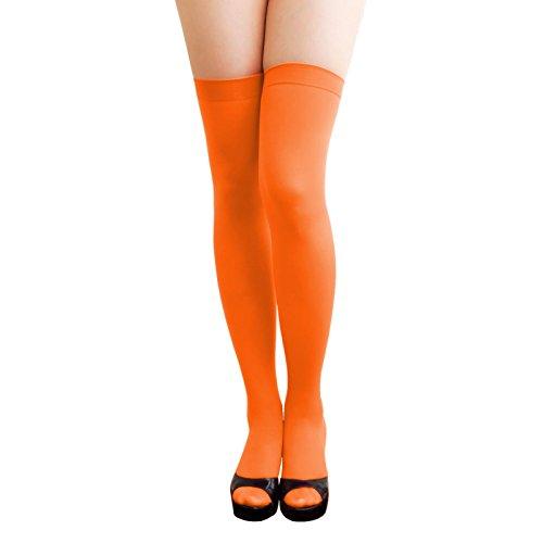 Oblique-Unique® Sexy Strumpfhose -halterlos- Overknee Strümpfe - Party Kostüm Fasching Karneval (Overknee orange)